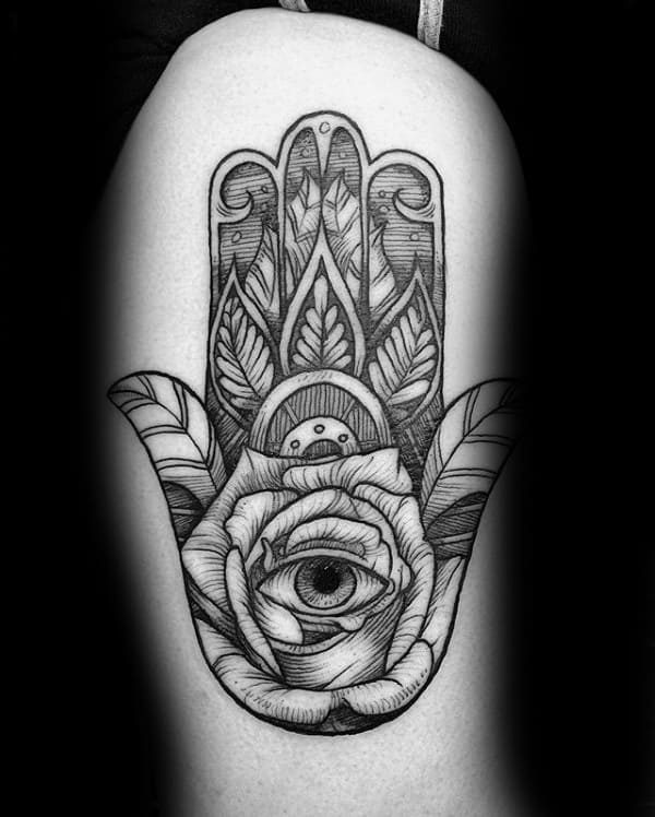 Rose Flower Hamsa Eye Mens Thigh Tattoo