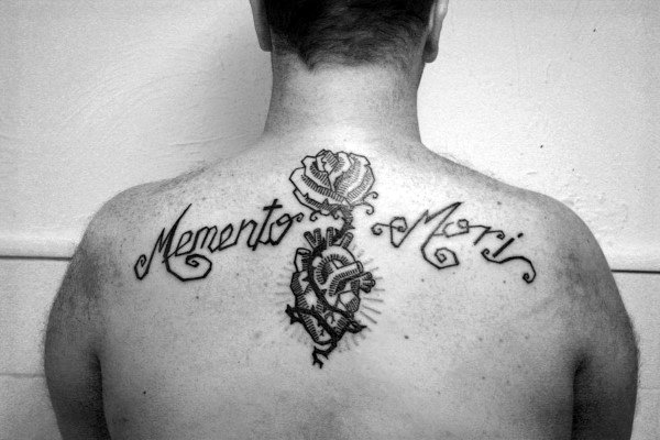 Rose Flower Heart Memento Mori Guys Upper Back Script Tattoos