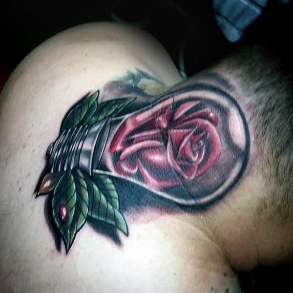 Rose Flower Inside Light Bulb Mens Neck Tattoo Ideas
