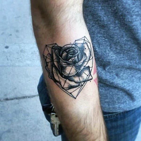 Rose Flower Male Geometric Heart Outer Forearm Tattoo