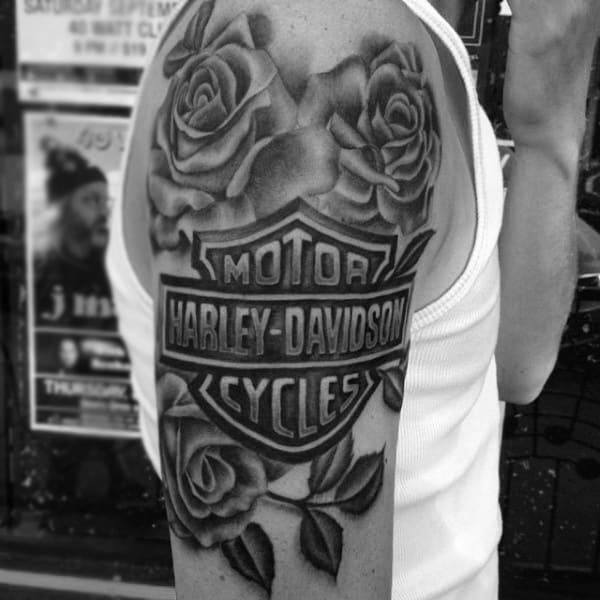 Rose Flower Memorial Harley Davidson Mens Upper Arm Tattoo