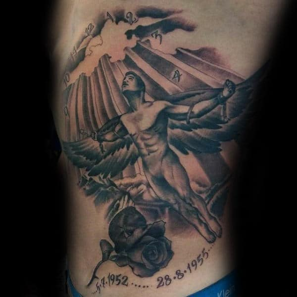 Rose Flower Memorial Icarus Guys Ribs Tattoo