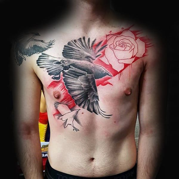 Rose Flower Mens Crow Chest Tattoo Ideas