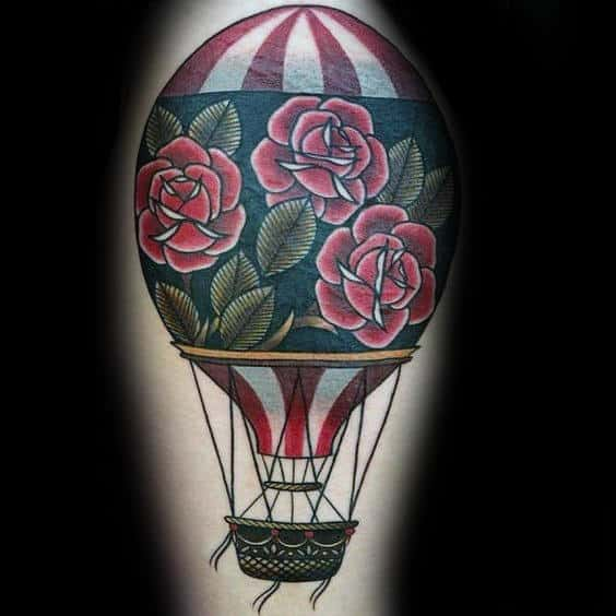 Rose Flower Old School Hot Air Balloon Tattoos For Guys Arms