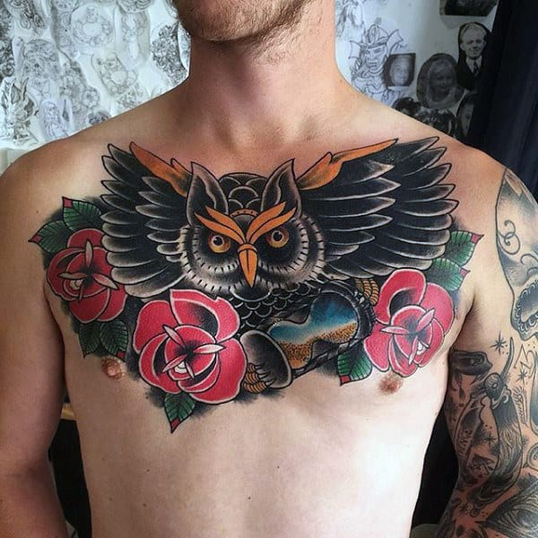 Rose Flower Owl With Hourglass Mens Traditional Upper Chest Tattoos