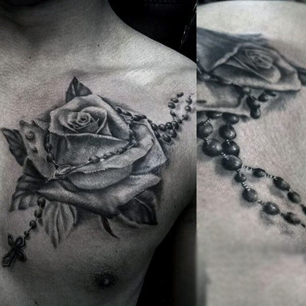 Rose Flower Rosary Chest Mens Tattoos