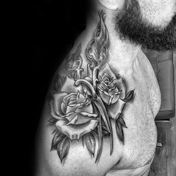 Rose Flower Scissors Mens Shoulder Tattoo With Shaded Ink Design