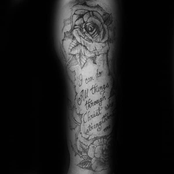 Rose Flower Scroll Philippians 4 13 Guys Arm Tattoos