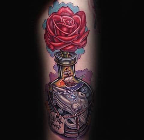 Rose Flower Ship In A Bottle Arm Tattoos For Men