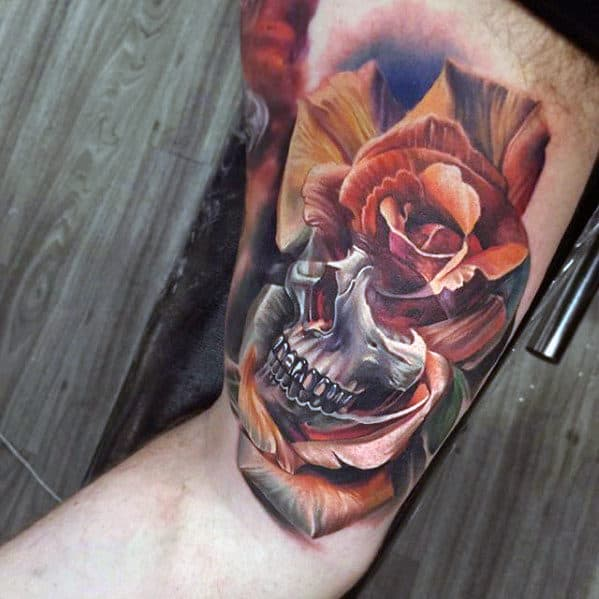 Rose Flower Skull Awesome Arm Tattoo Ideas For Guys