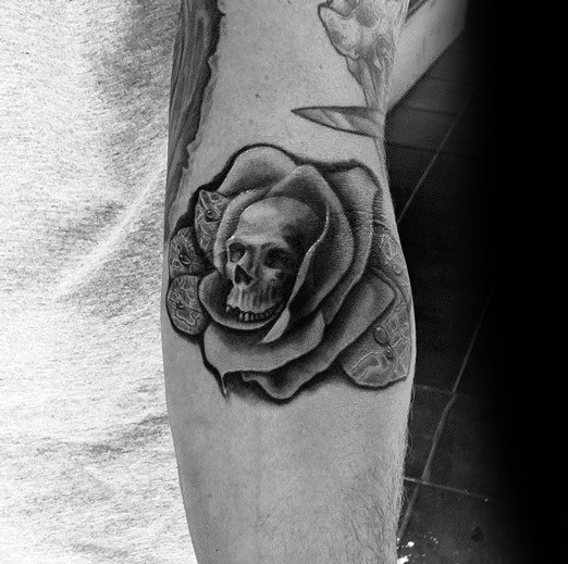Rose Flower Skull Awesome Ink Ditch Tattoos For Men