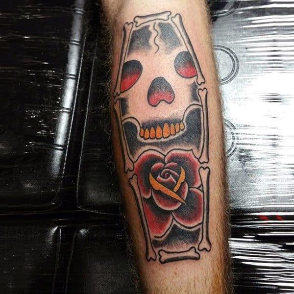 Rose Flower Skull Bone Coffin Shaped Tattoo For Males