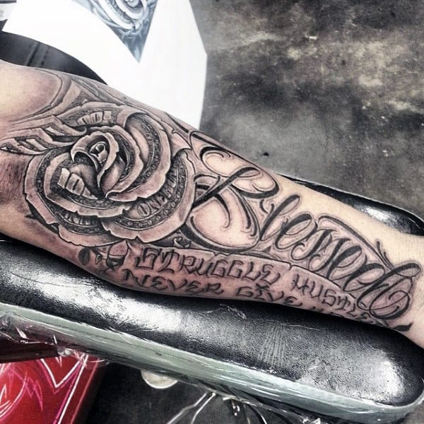 Rose Flower Tattoo Blessed Design On Man