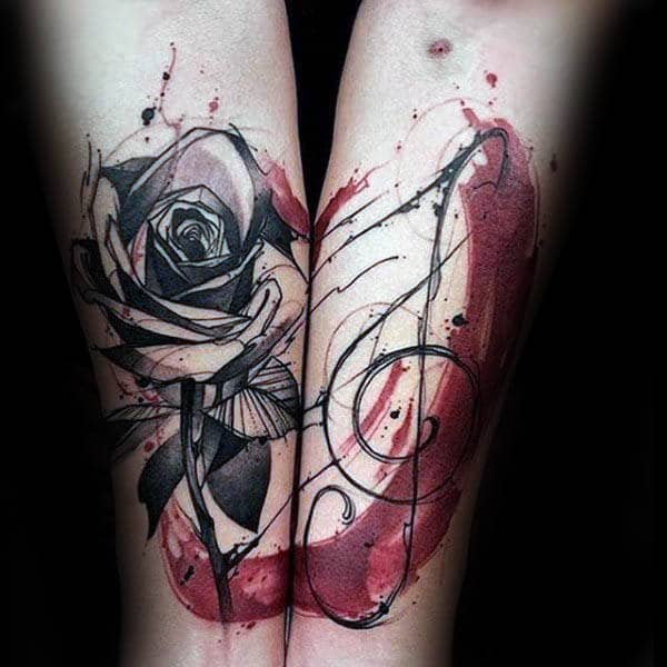 Rose Flower Treble Clef Watercolor Inner Forearm Tattoos For Guys