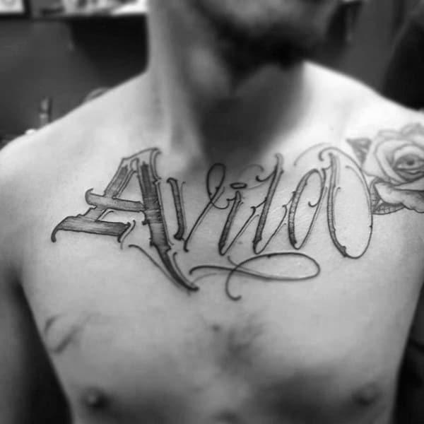 Rose Flower Unique Name Mens Chest Tattoos