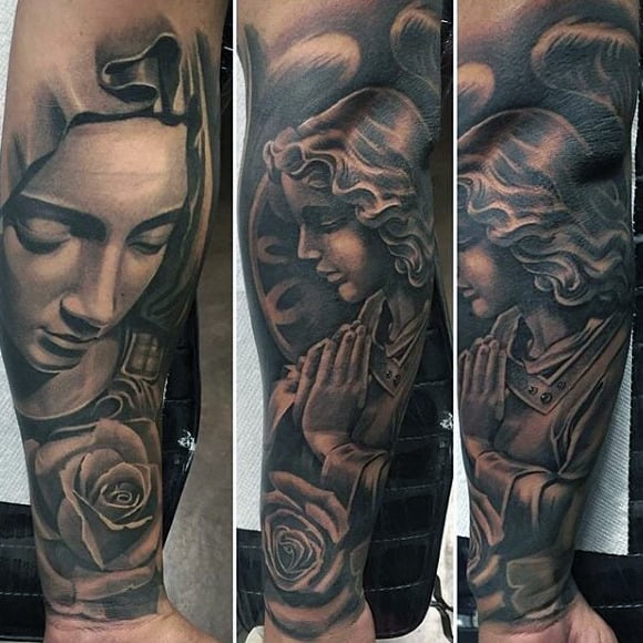 Rose Flower Virgin Mary Guys Forearm Tattoo Sleeves