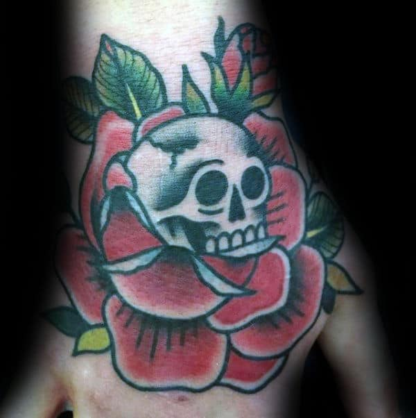 Rose Flower White Skull Mens Traditional Tattoo On Hand