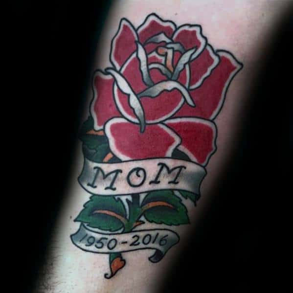 Rose Flower With Banner Forearm Traditional Mom Guys Tattoo Ideas
