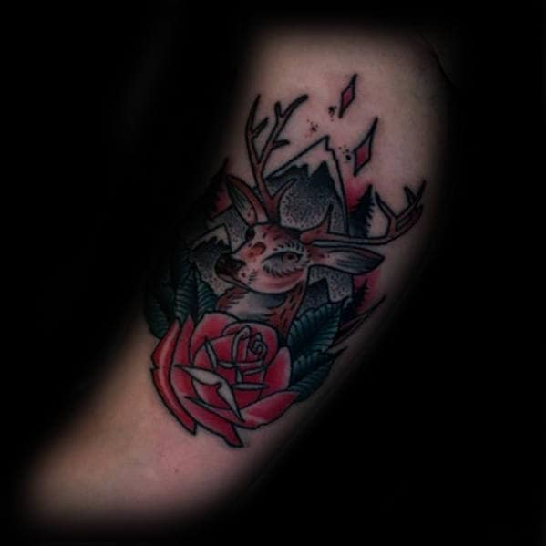 Rose Flower With Deer And Mountain Landscape Guys Traditional Tattoos On Arm