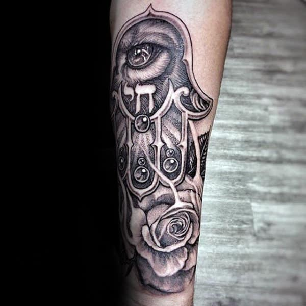 Rose Flower With Eyes And Hamsa Guys Tattoo On Forearms