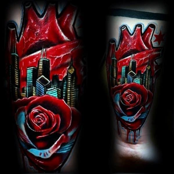 Rose Flower With Heart Skyline Mens Chicago City Tattoos On Inner Forearm