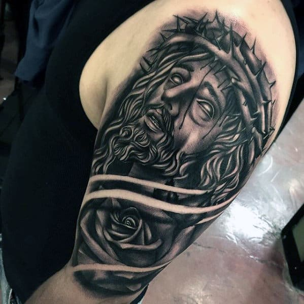 Rose Flower With Jesus Arm Tattoos For Men