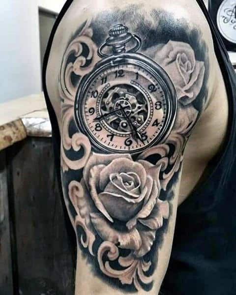 Rose Flower With Pocket Watch Filigree Half Sleeve Guys Tattos