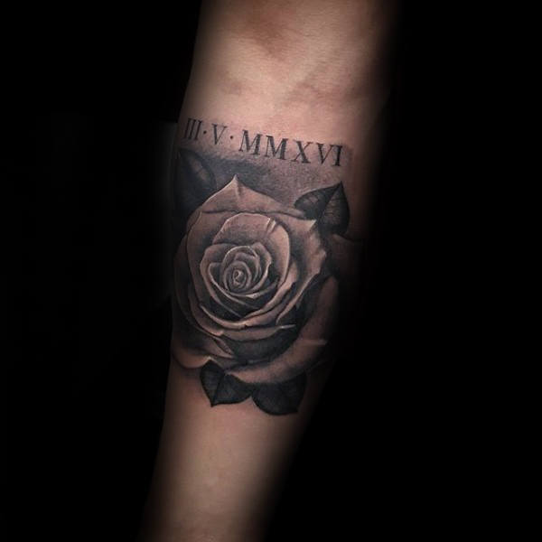Rose Flower With Roman Numeral Tattoo On Mans Inner Forearm