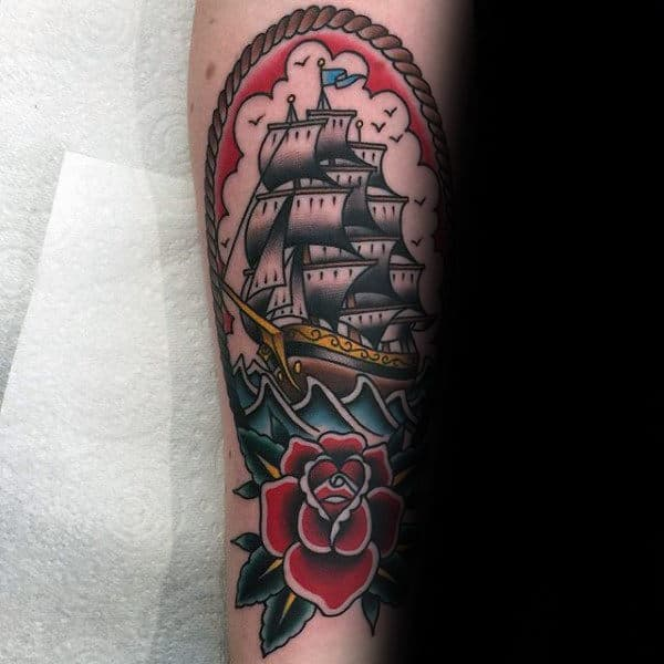 Rose Flower With Sailing Ship Male Traditional Forearm Tattoos