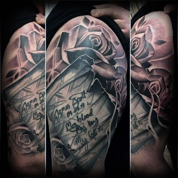 Rose Flower With Scroll Mens Arm Tattoo Design Ideas