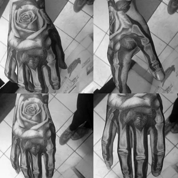 Rose Flower With Skeleton Hand White And Black Ink Shaded Tattoo On Male