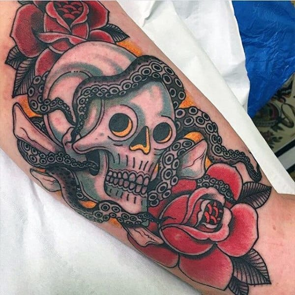 Rose Flower With Snake And Skull Guys Traditional Arm Tattoos