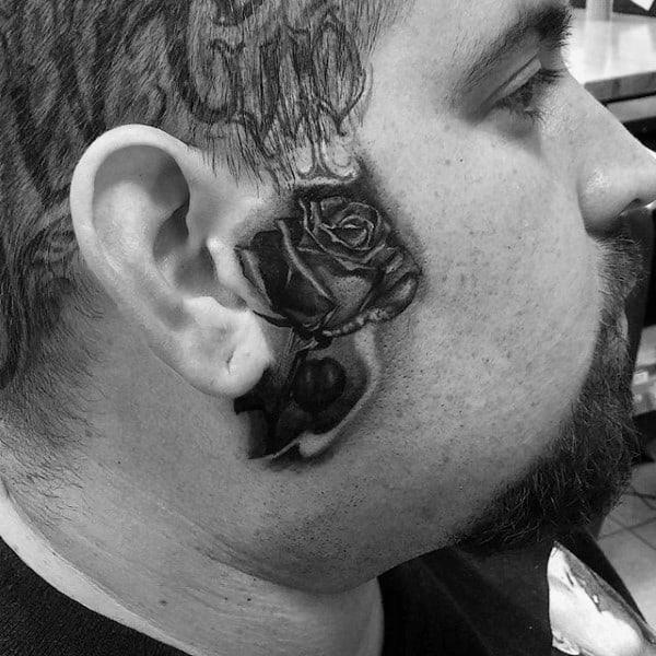 Rose Flower With Stem Mens Face Tattoos