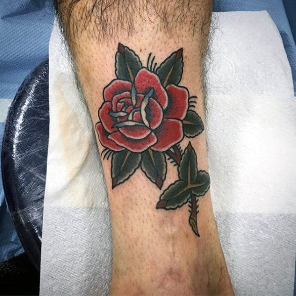 Rose Flower With Stem Traditional Leg Guys Tattoos