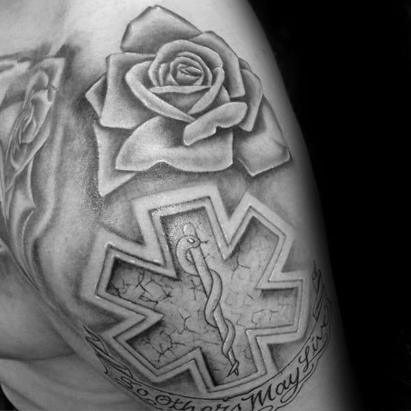 60 star of life tattoo designs for men ems emt and paramedic. Black Bedroom Furniture Sets. Home Design Ideas