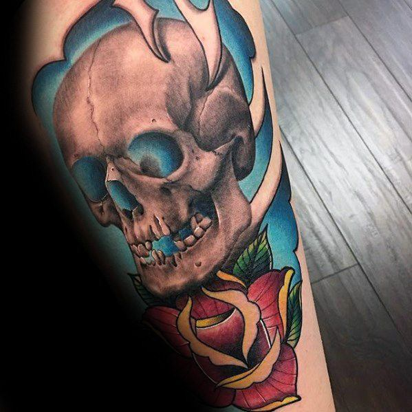 Rose Flower With Unique Skull Guys Cool Leg Tattoo Designs
