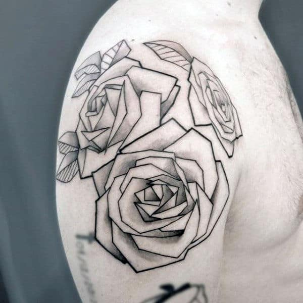 Rose Flowers Mens Origami Arm And Shoulder Tattoo