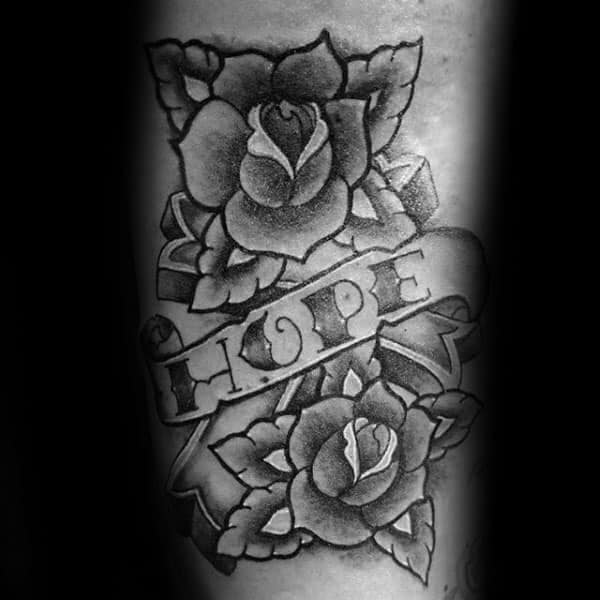 Rose Flowers Sailor Jerry Mens Forearm Hope Banner Tattoos