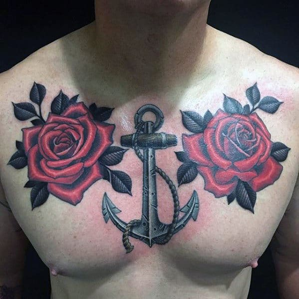 40 Anchor Chest Tattoo Designs For Men