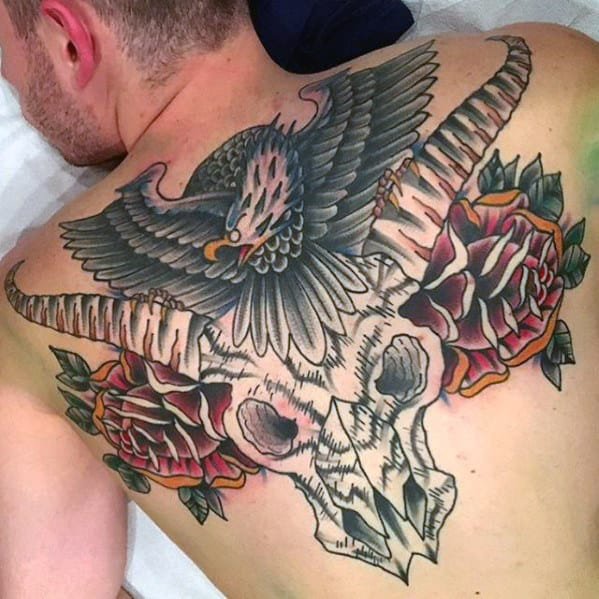 Rose Flowers With Skull And Eagle Mens Upper Back Tattoo