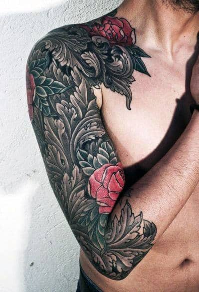 Rose Half Sleeve Flower Tattoos For Men