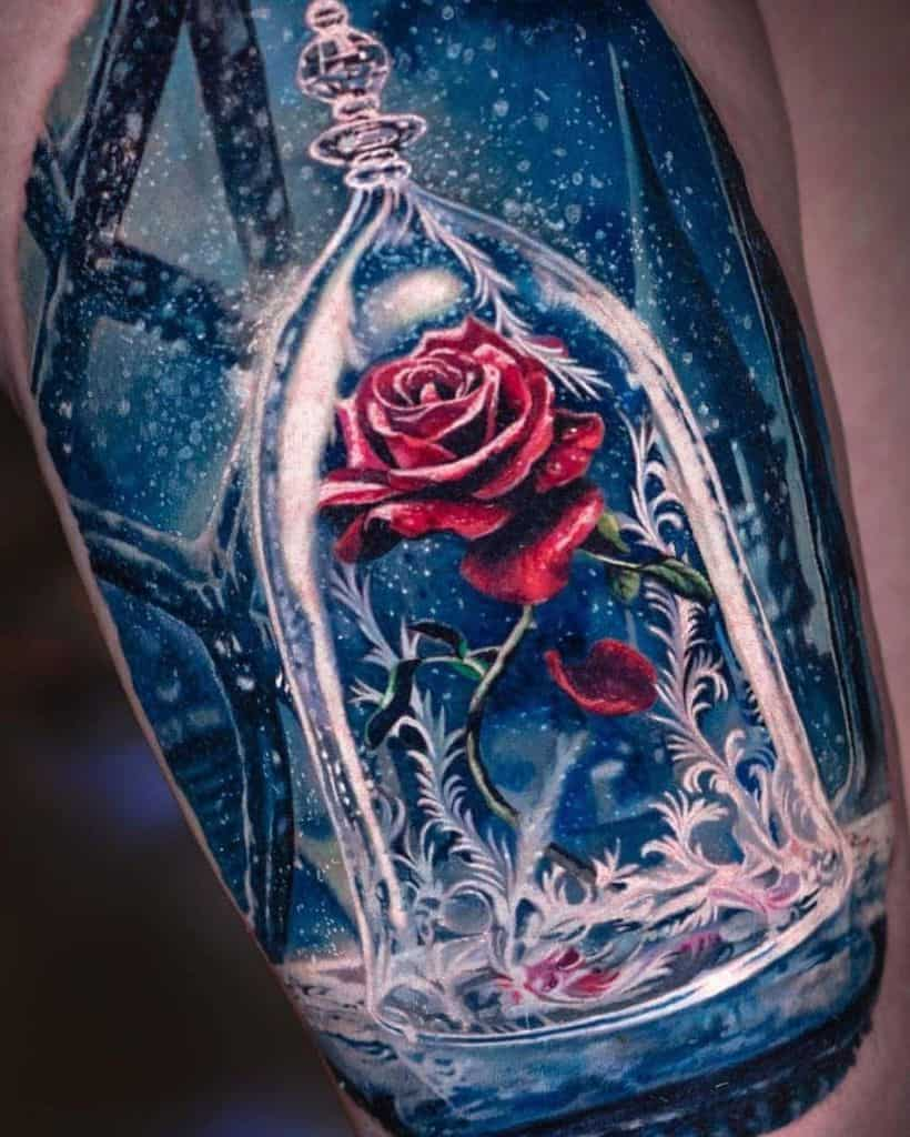 Rose In A Glass Tattoo Beauty And The Beast