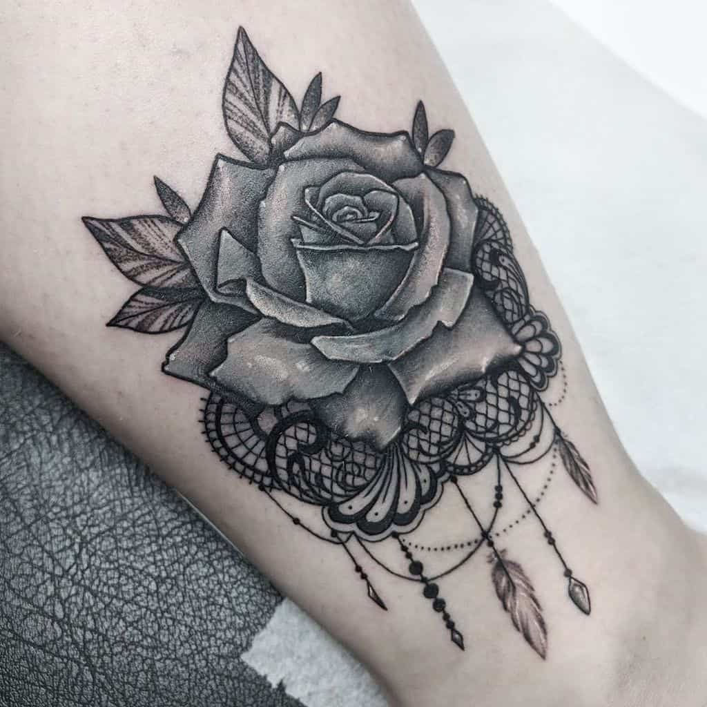 Rose Lace Feather Ornamental Tattoo