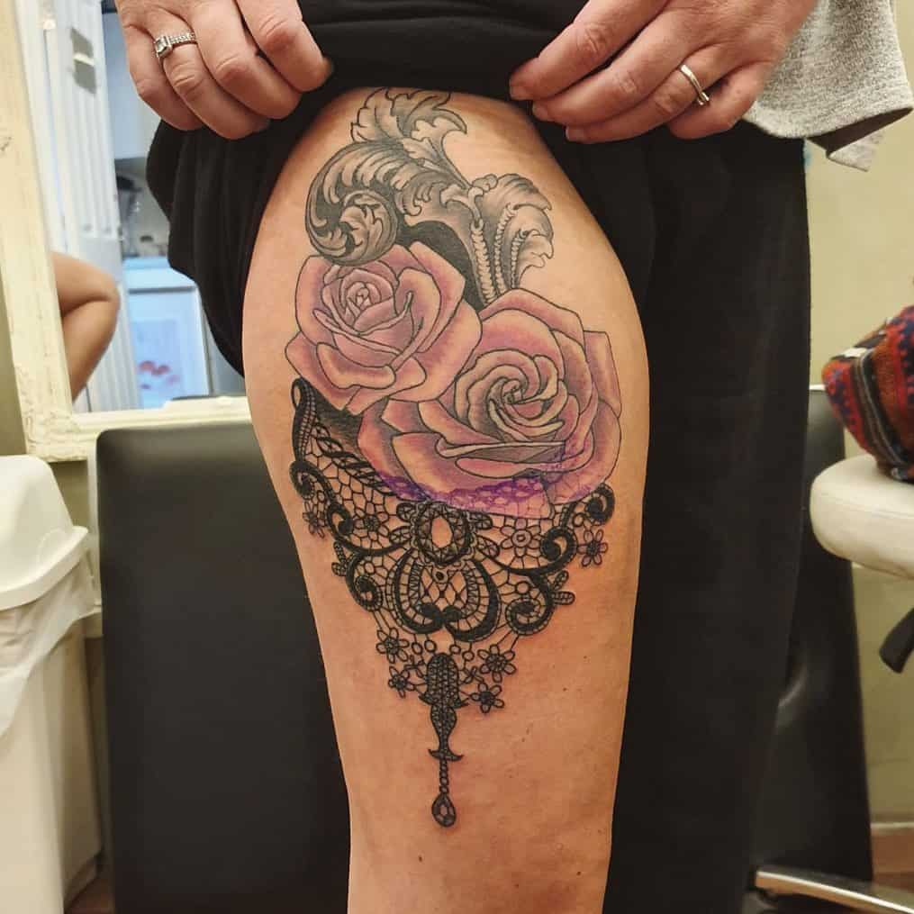 Rose Lace Thigh Piece Tattoo