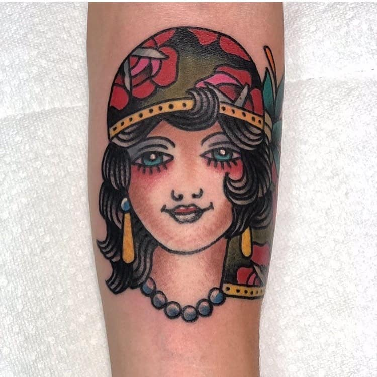 Rose Lady Colored Gypsy Tattoo