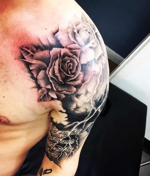Rose Lightning Bolts Tattoo For Males