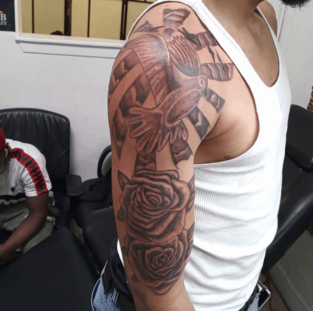 rose shoulder tattoo fail