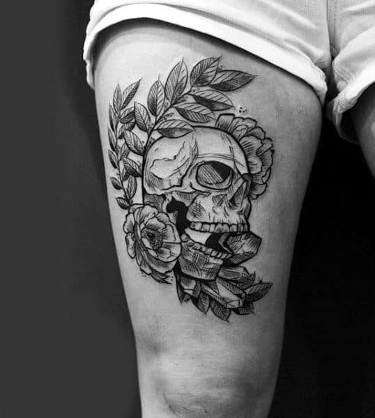 Rose Skull Thigh Tattoos For Guys