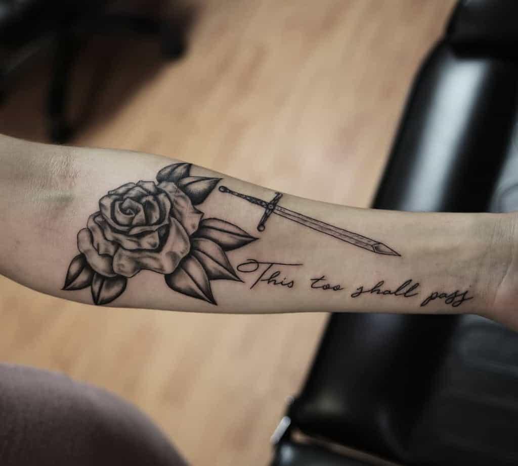 Rose Sword This Too Shall Pass Tattoo