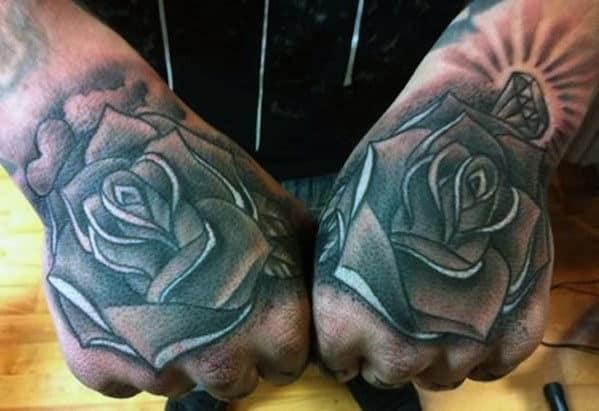Rose Tattoos On Hand For Men